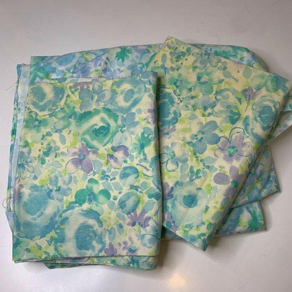 vintage sheet set green blue watercolor floral pri